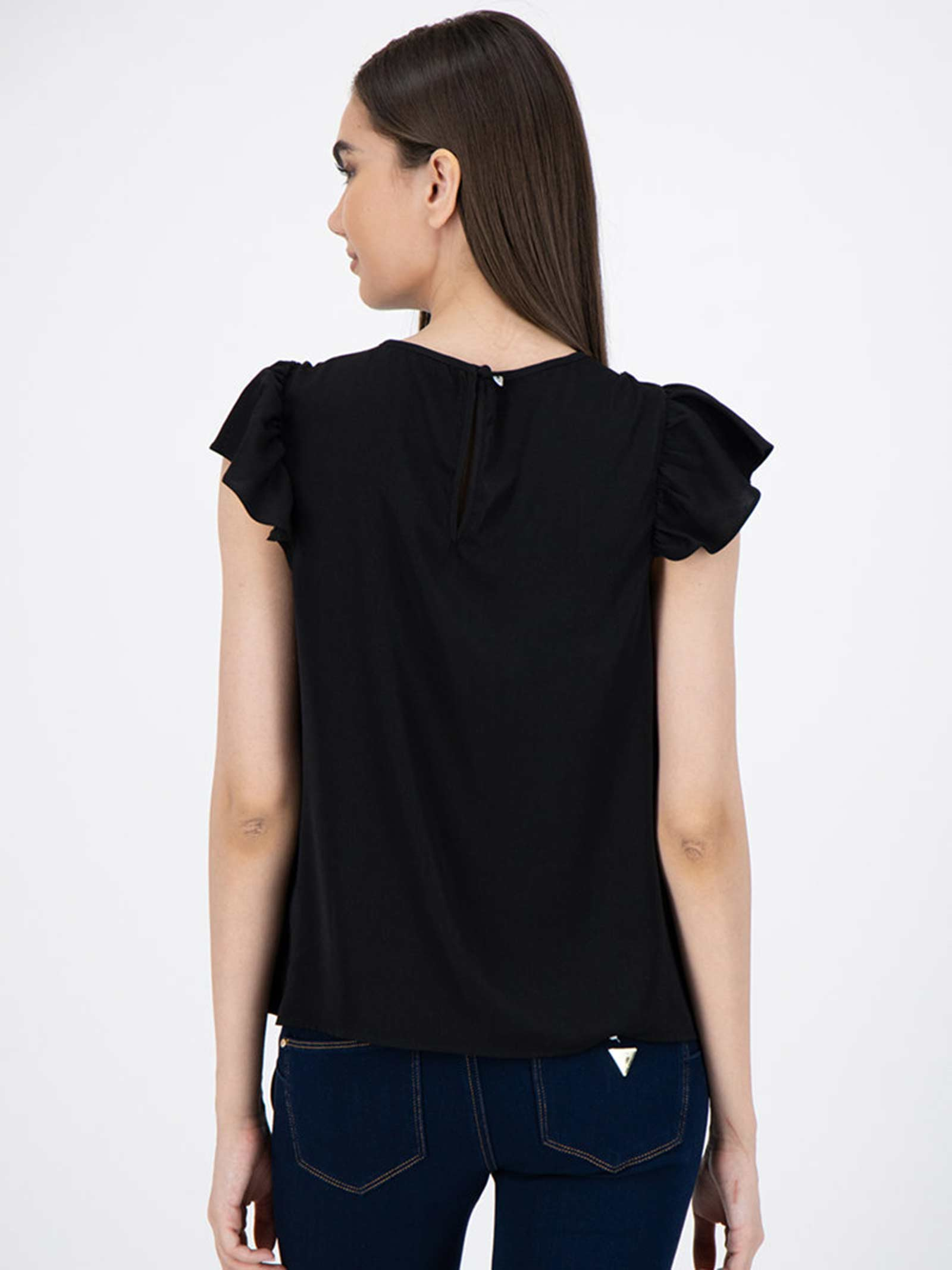 top con pizzo e rouches GUESS   Top   W0YH90 W5OC2JBLK