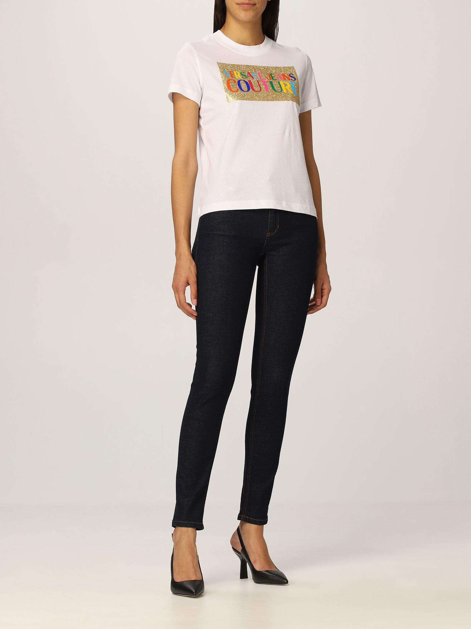 T-shirt glitter multicolor  VERSACE JEANS | T-Shirts | 71HAHT07003