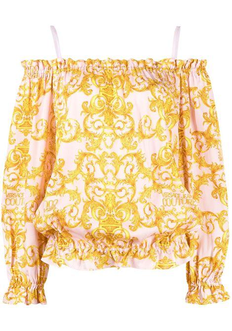 blusa twill  logo baroque VERSACE JEANS | Bluse | B0HWA623402