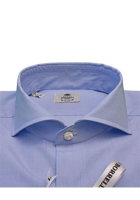 MICRO STRIPED SHIRT - WHITE/LIGHT-BLUE LUIGI BORRELLI - NAPOLI | PS13/123-1