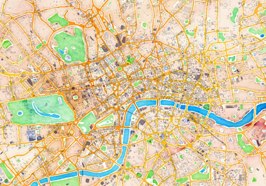 Map To London.Watercolour Other Cool Maps Of London Created Using Map Stack
