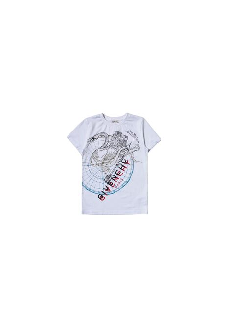 T-shirt in cotone bianco con logo all-over givenchy kids GIVENCHY KIDS | T-shirt | H25290BIANCO