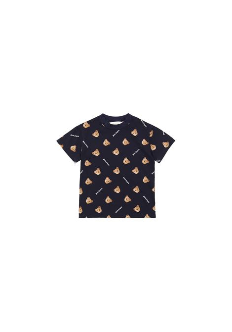 T-shirt in cotone blu con stampa all-over palm angels kids PALM ANGELS KIDS | T-shirt | PBAA001F21JER0024660BLU