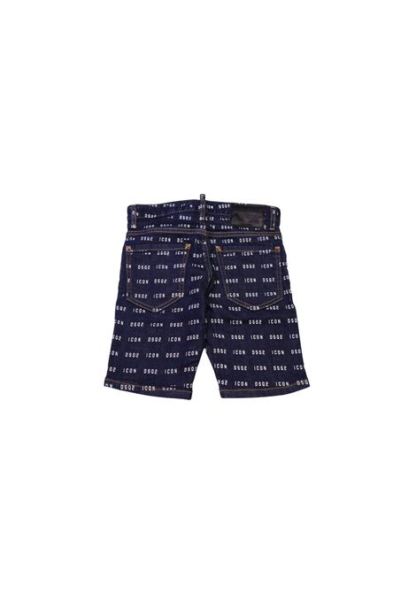 Bermuda jeans con logo all over DSQUARED2 KIDS | Bermuda | BER3959JEANS