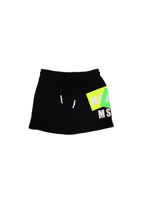 Gonna sportiva in cotone nero msgm kids MSGM KIDS | Gonne | GON1866NERO