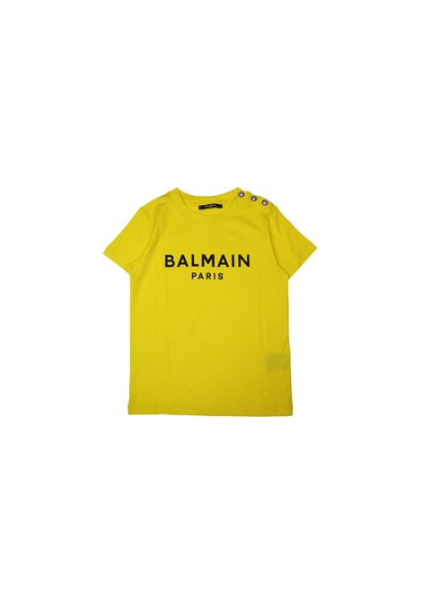 T-shirt in cotone giallo con bottoni metallici balmain kids BALMAIN KIDS | T-shirt | 608211OX390GIALLO