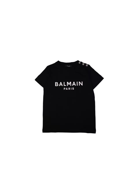T-shirt in cotone nero con bottoni metallici balmain kids BALMAIN KIDS | T-shirt | 608211OX390NERO