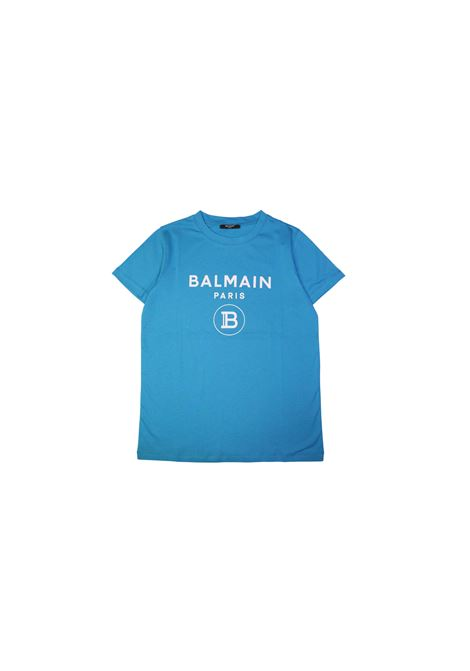 T-shirt in cotone turchese balmain kids BALMAIN KIDS | T-shirt | 608651OX390TURCHESE