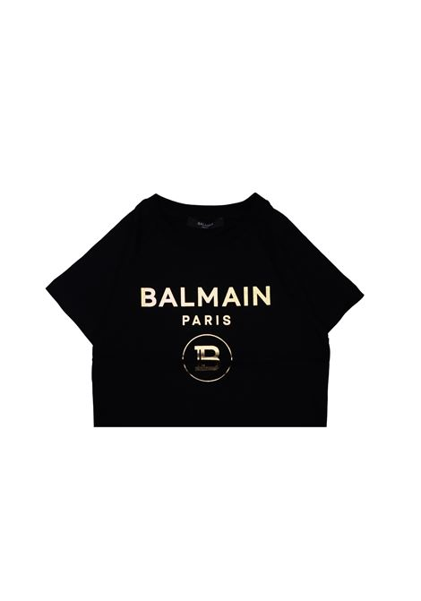 T-shirt in cotone nero balmain kids BALMAIN KIDS | T-shirt | 608101OX390NERO