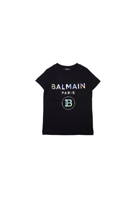 T-shirt in cotone nero balmain kids BALMAIN KIDS | T-shirt | 6M8021MX030100NERO
