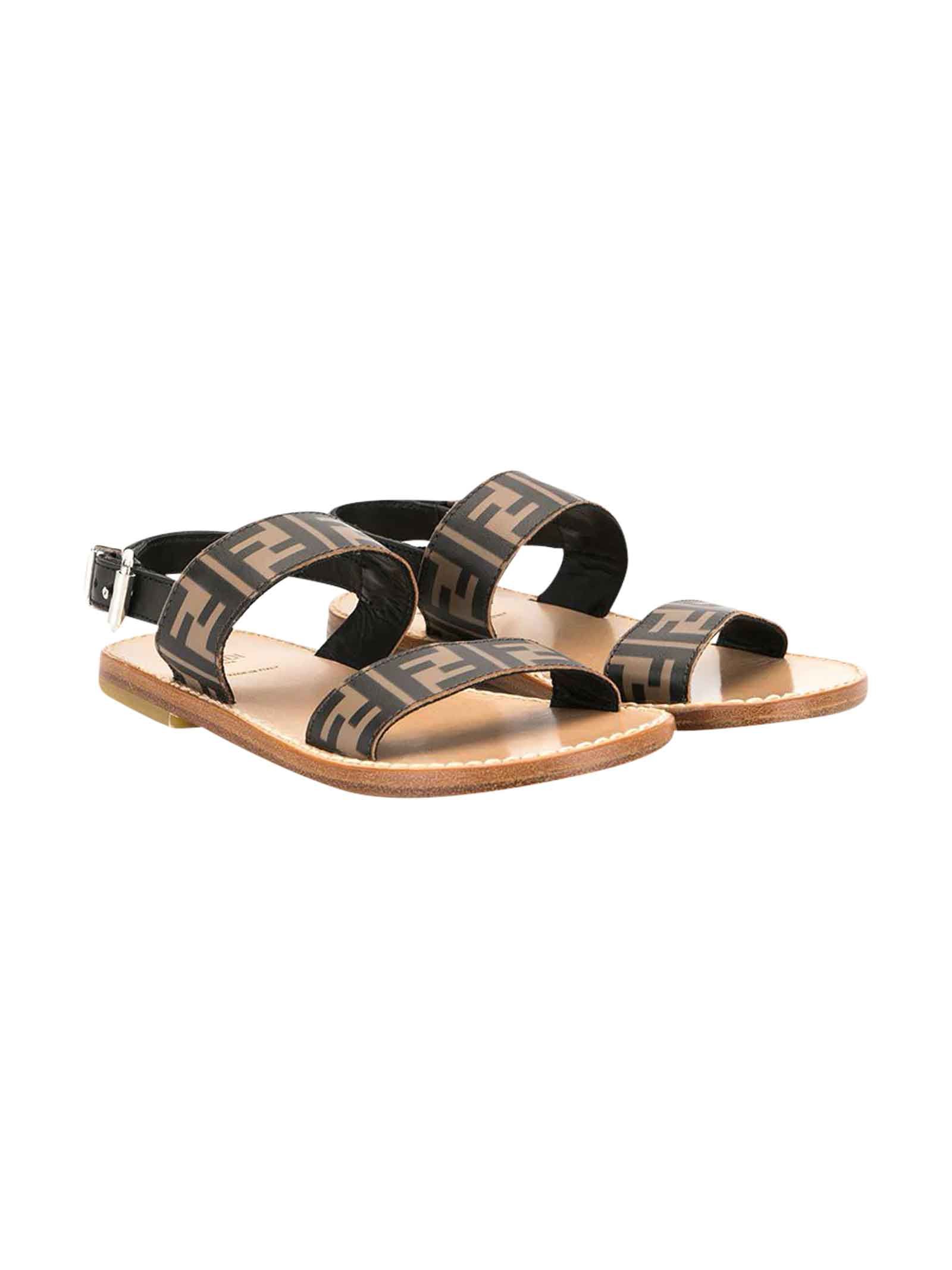 Brown Fendi kids logo sandals - FENDI