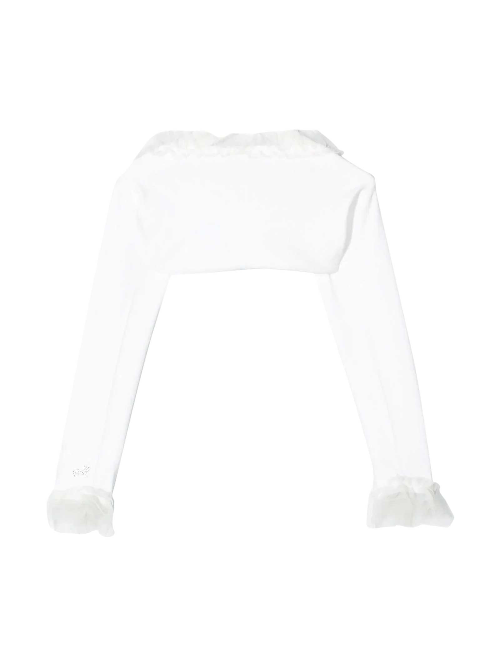 White teen frill-trim cropped cardigan Monnalisa kids Monnalisa kids   -1615195615   715800A152040001T