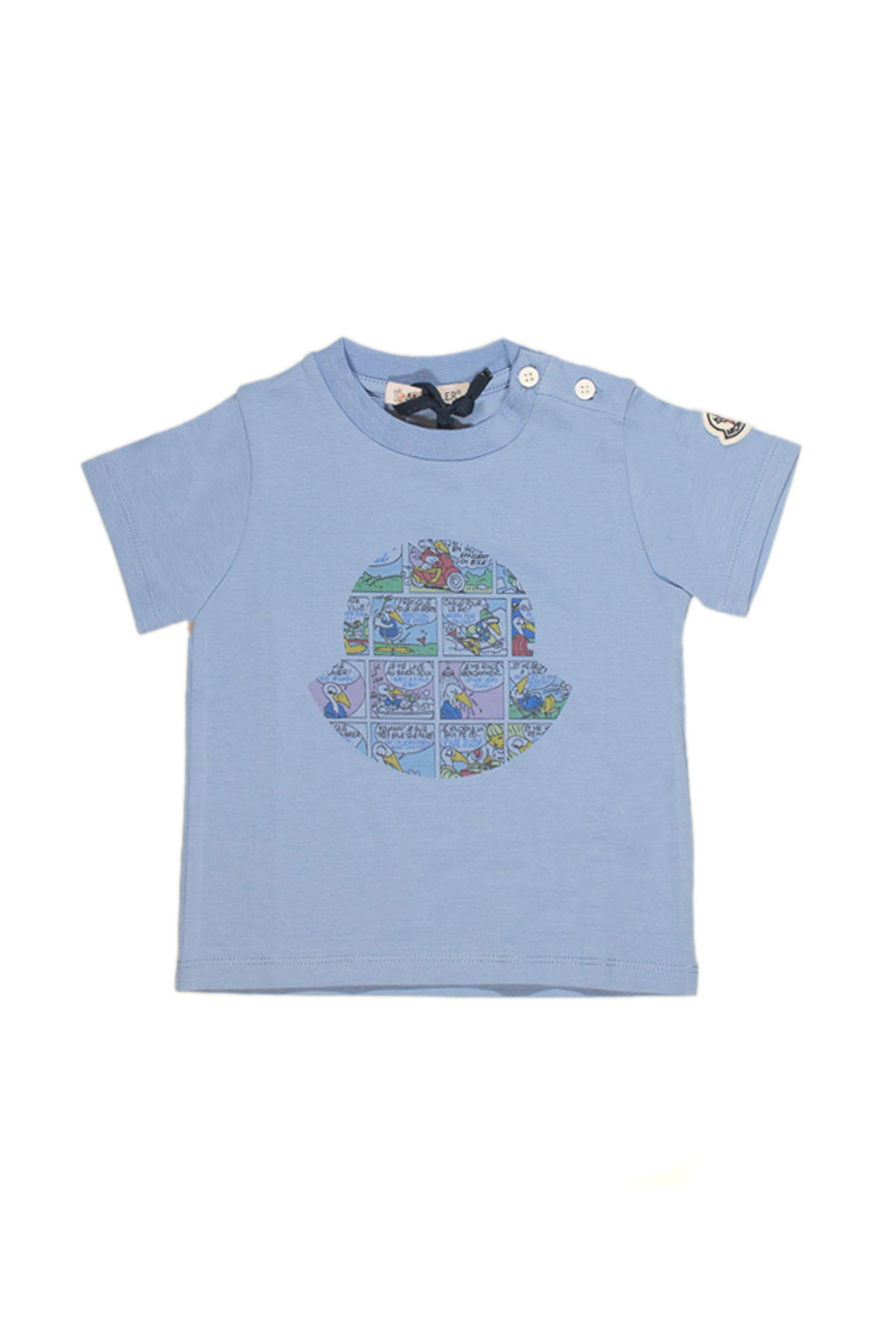... BLUE T-SHIRT WITH FRONTAL MULTICOLOR PRESS Moncler | 8 | 80187508790A704 ...