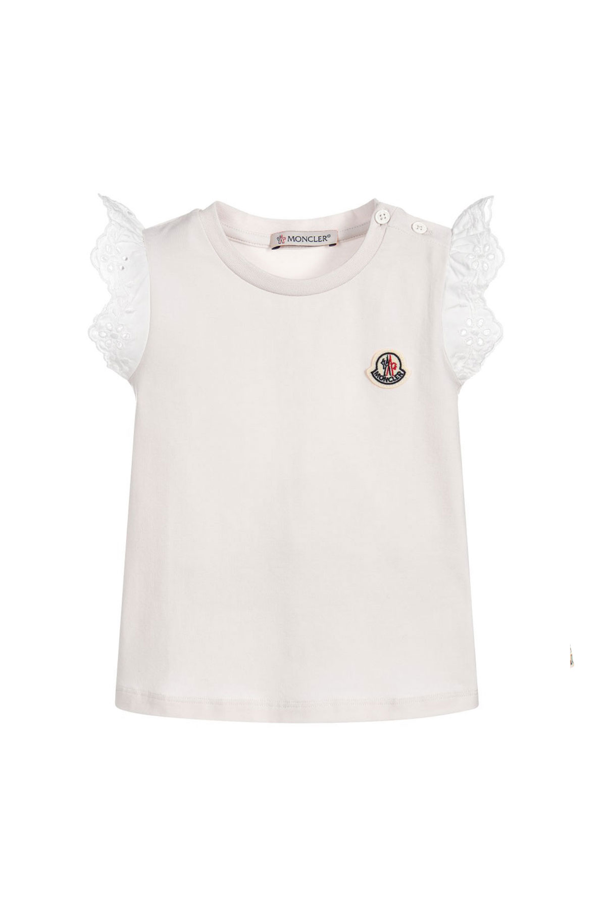 ... WHITE T-SHIRT WITH FRONTAL LOGO AND SHORT SLEEVE WITH LACE Moncler | 8 ...