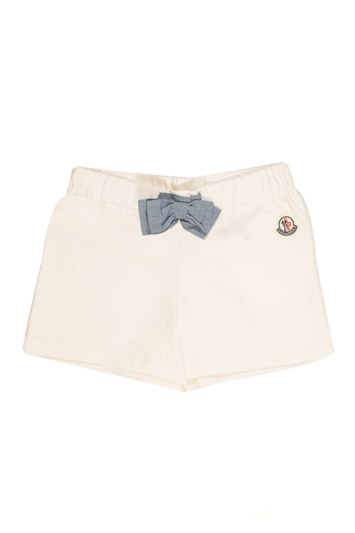 ... WHITE SHORTS WITH FRONTAL LOGO AND BLUE BOW Moncler | 30 | 87575058790A034 ...