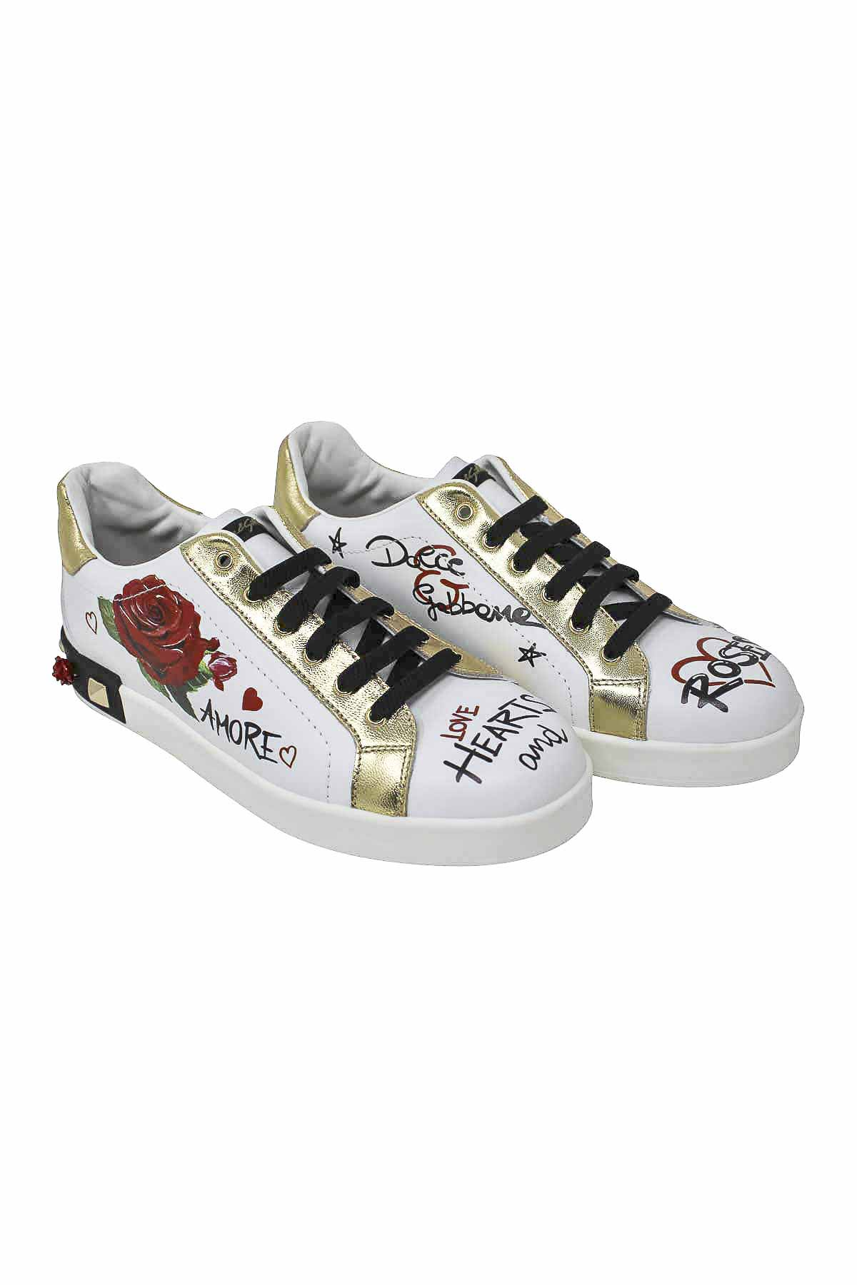 70b38ea15 ... WHITE SNEAKERS WITH GOLD DETAILS DOLCE E GABBANA KIDS Dolce & Gabbana  kids | 12 ...