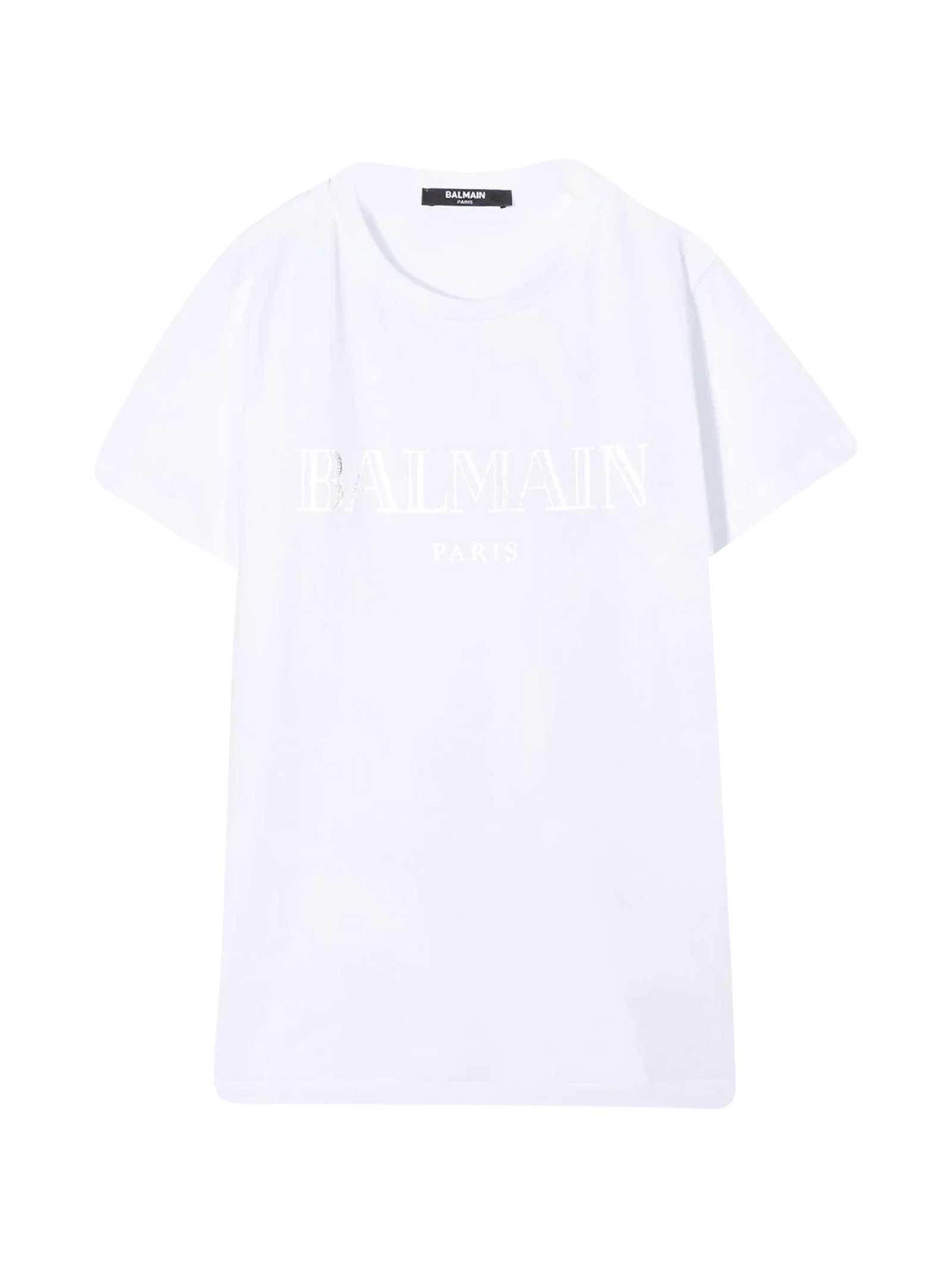 T-shirt bianca teen con logo frontale Balmain kids BALMAIN KIDS | 8 | 6N8551NX290100AGT