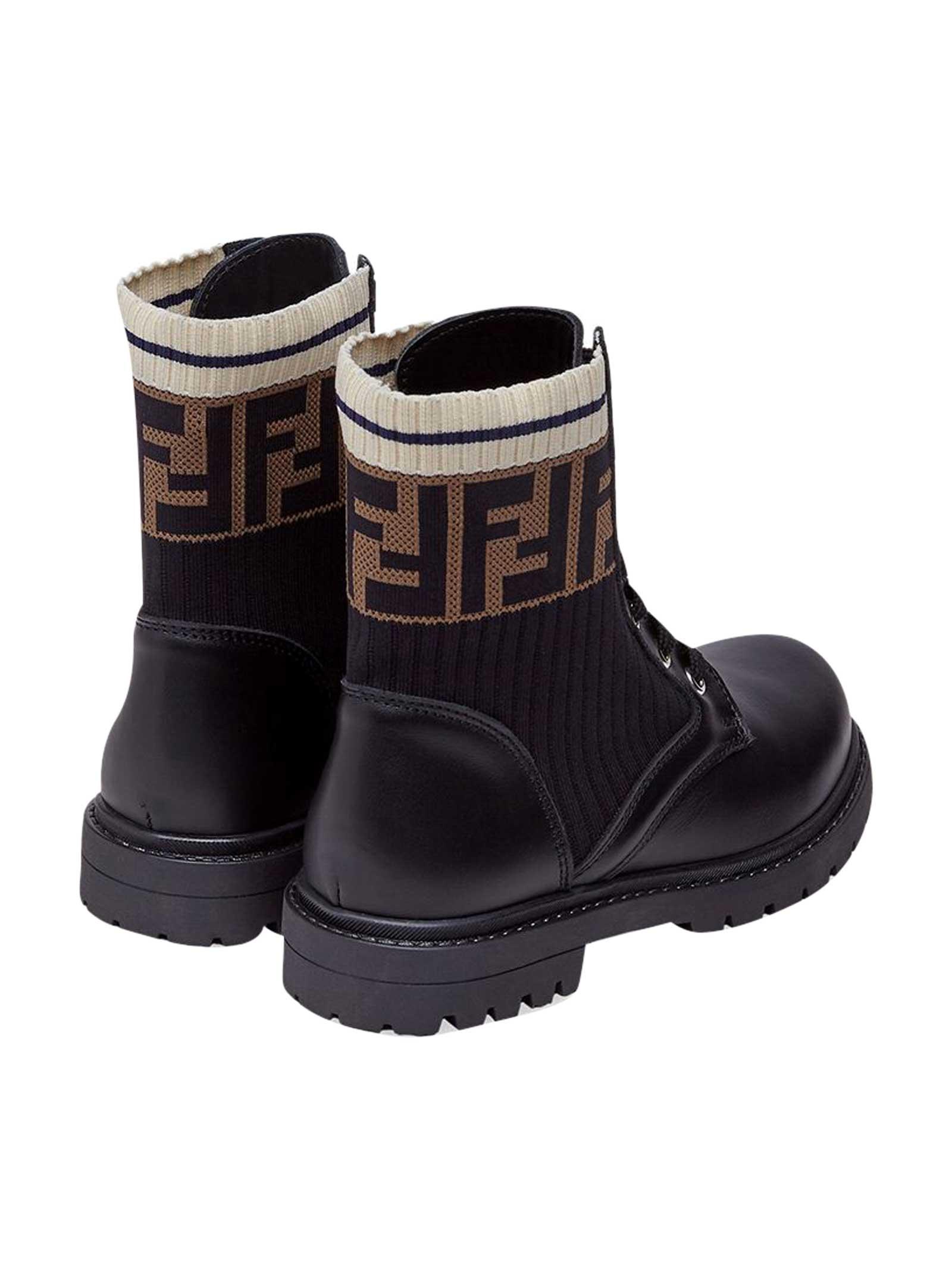 Black boots with round tip Fendi kids