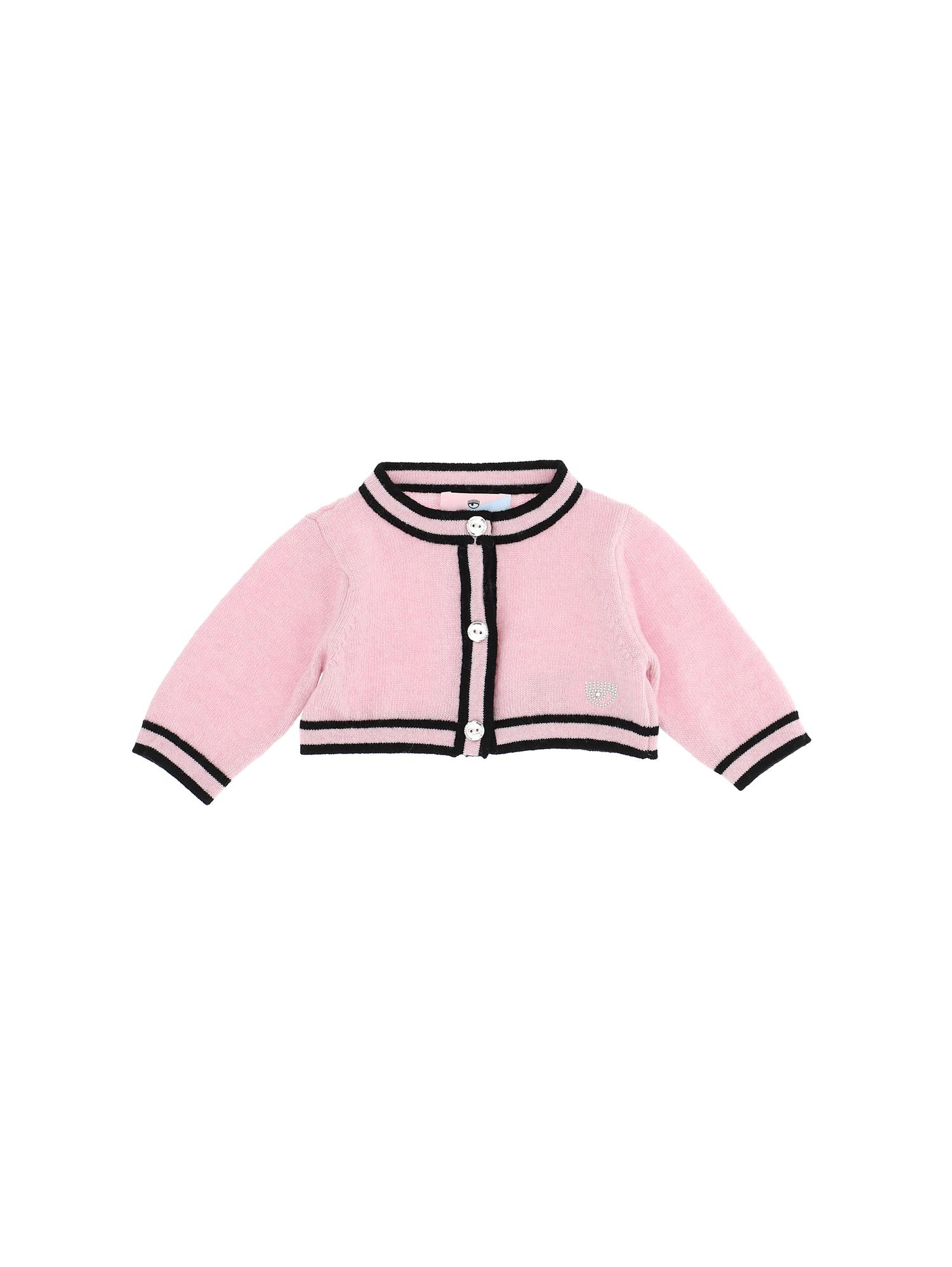 Cardigan rosa e nero Chiara Ferragni kids CHIARA FERRAGNI KIDS | 39 | 55880180659050