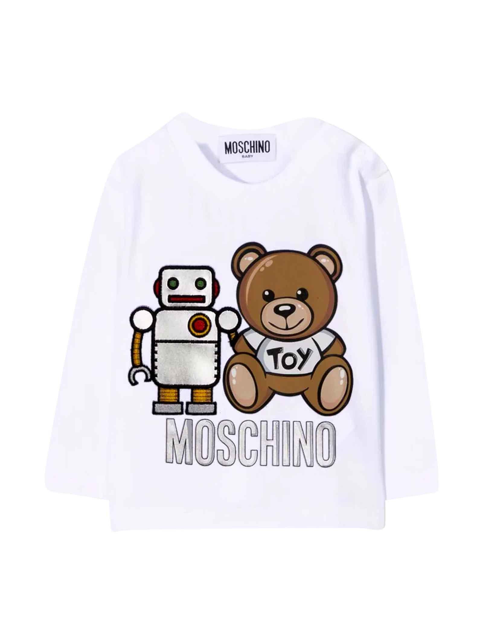 T-shirt bianca unisex MOSCHINO KIDS | 8 | MUO005LBA1110101