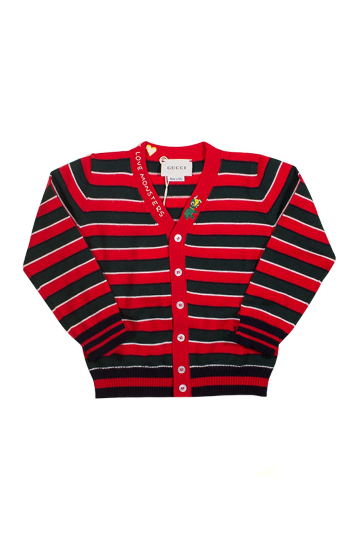 84a3218d2bf RED CARDIGAN GUCCI KIDS WITH WHITE AND GREEN STRIPES - GUCCI KIDS ...