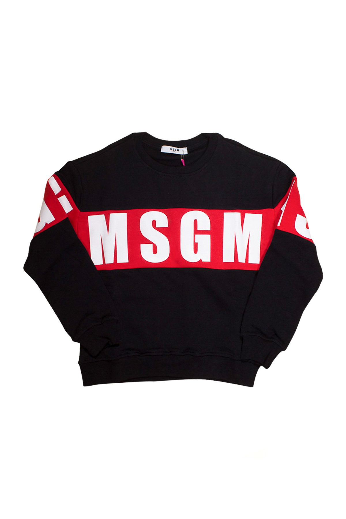 Black Sweatshirt Msgm Kids With White And Red Press Msgm