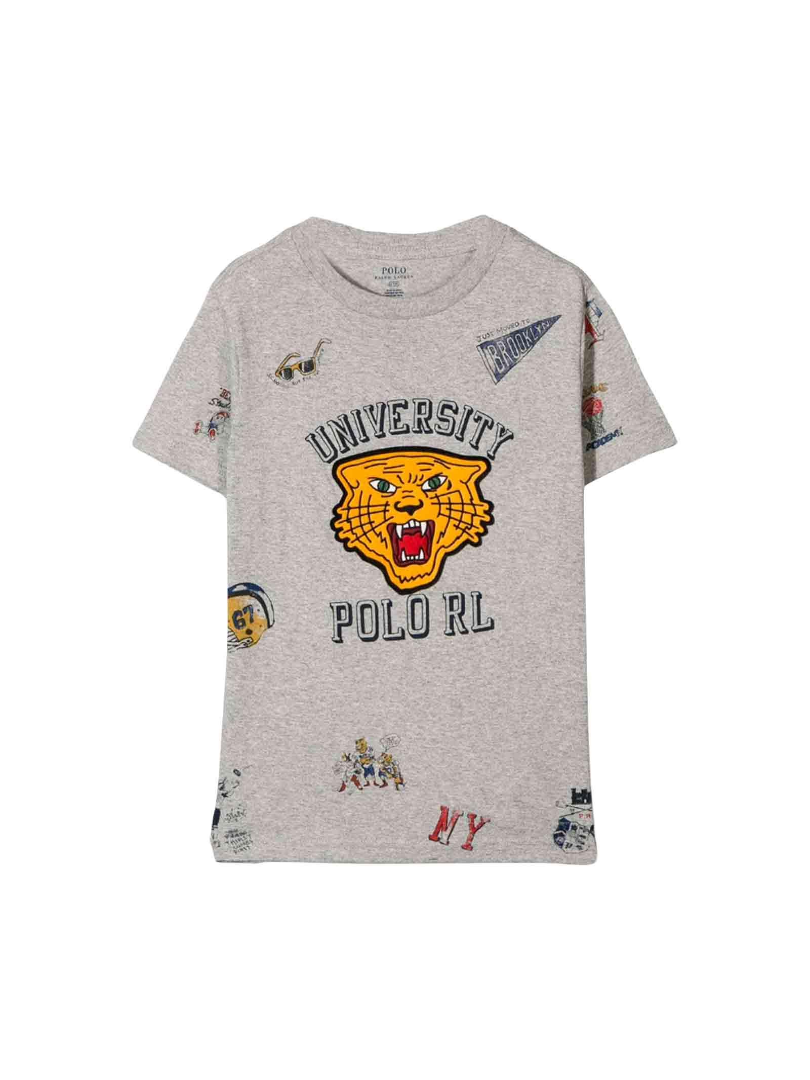 best sneakers 0d4ee d0147 T-shirt grigia bambino Ralph Lauren kids - RALPH LAUREN KIDS ...