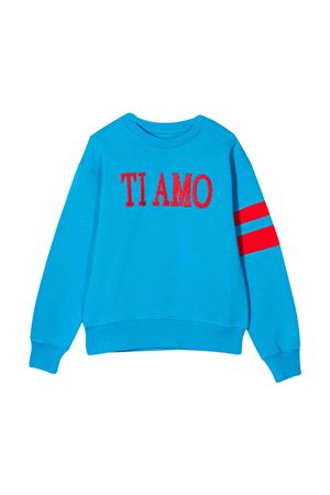 Turquoise sweatshirt with frontal embroidery Alberta Ferretti kids Alberta ferretti kids | -108764232 | 022145051
