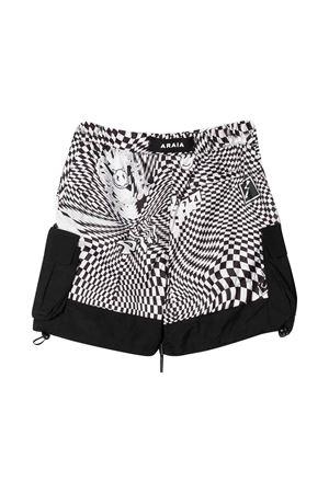 Teen Araia kids checked shorts  Araia Kids | 85 | PS1103ABIANCO/NEROT