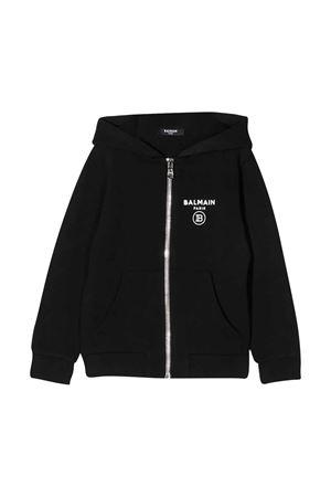 Black teen hoodie with logo balmain kids BALMAIN KIDS | -108764232 | 6M4700MX270930T