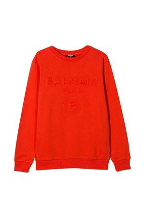 Red crew neck sweatshirt Balmain kids teen  BALMAIN KIDS | -108764232 | 6M4740MX020409T