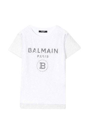 T-shirt bianca Balmain kids teen BALMAIN KIDS   8   6M8061MA030100T