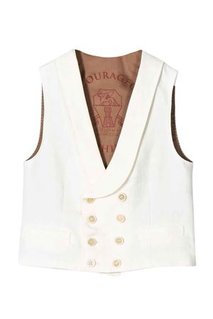 White vest with frontal button closure Brunello Cucinelli kids Brunello Cucinelli Kids | 38 | BD418K901CX491