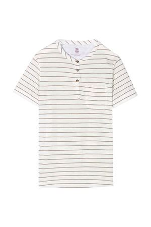White t-shirt with stripes Brunello Cucinelli kids Brunello Cucinelli Kids | 8 | BQ825T120C030