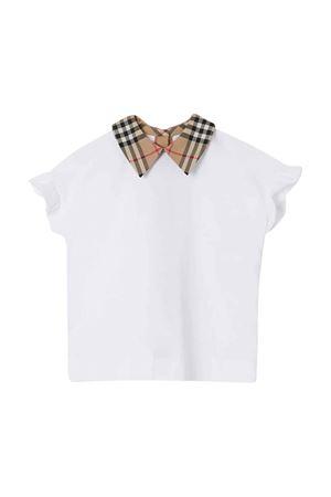T-shirt bianca con dettagli vintage check Burberry kids BURBERRY KIDS   8   8020158A1464