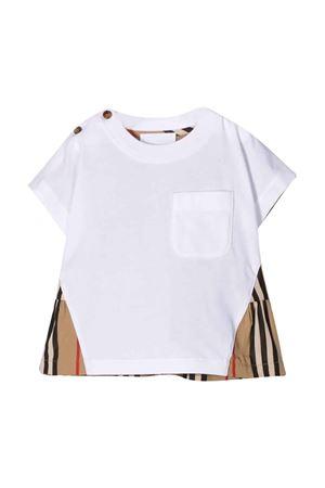 T-shirt bianca neonato con inserti check Burberry kids BURBERRY KIDS | 8 | 8022119A1464