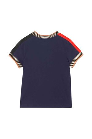 T-shirt blu con dettagli check Burberry kids BURBERRY KIDS | 8 | 8022252A1222