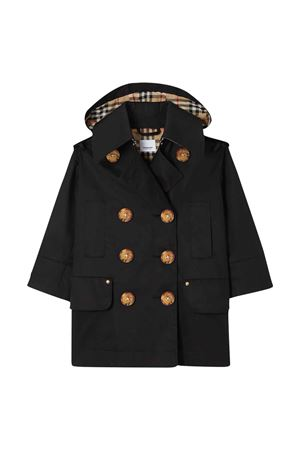 Black Trench coat with removable hood Burberry Kids BURBERRY KIDS | 1463385353 | 8022300A1189T