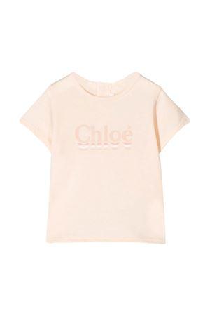 T-shirt rosa con logo Chloè kids CHLOÉ KIDS | 8 | C0532944B