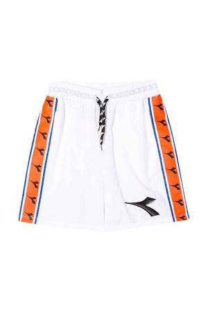 White teen shorts with orange band Diadora junior DIADORA JUNIOR | 30 | 022297001T