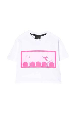 White and pink teen cropped t-shirt Diadora junior DIADORA JUNIOR | 8 | 022784001/04T