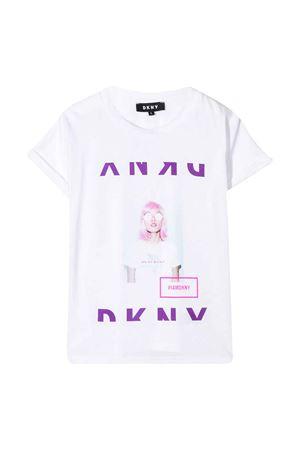 T-shirt bianca teen con stampa frontale DKNY kids DKNY KIDS | 8 | D35Q5310BT