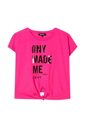 T-shirt rosa con stampa frontale DKNY kids DKNY KIDS | 8 | D35Q72476