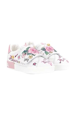 White teen sneakers with multicolor press and application Dolce&Gabbana kids Dolce & Gabbana kids | 12 | D10882AC421HA96CT