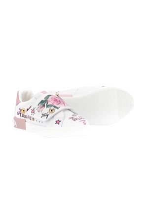 White sneakers with multicolor press and application Dolce&Gabbana kids Dolce & Gabbana kids | 12 | D10882AC421HA96C
