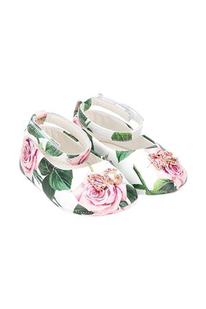 White ballerina flats with roses press Dolce&Gabbana kids Dolce & Gabbana kids | -216251476 | DK0065AC431HA96C