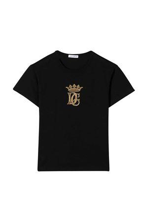 T-shirt nera con logo oro frontale Dolce&Gabbana kids Dolce & Gabbana kids | 8 | L4JT6SG7WGBN0000