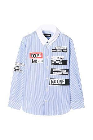 Camicia azzurra rigata con stampe DSQUARED2 kids DSQUARED2 KIDS | 5032334 | DQ03VZD00WUDQC14