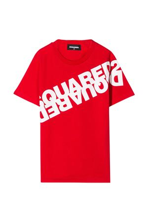 Red teen t-shirt with white press Dsquared2 kids DSQUARED2 KIDS | 5032319 | DQ03WAD00W5DQ411T