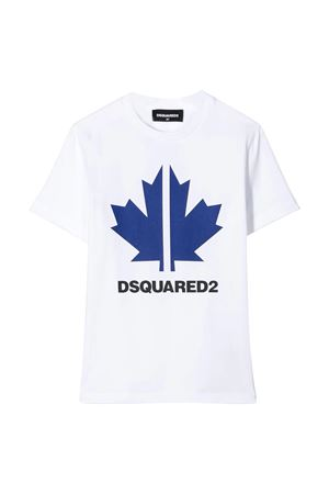 White teen t-shirt with blue press Dsquared2 kids DSQUARED2 KIDS | 8 | DQ03WDD00X4DQ10LT